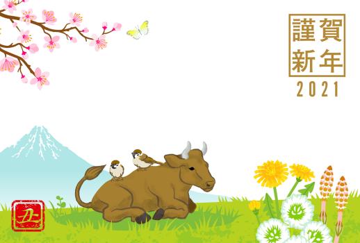 AF052_47_5 春の野原と牛